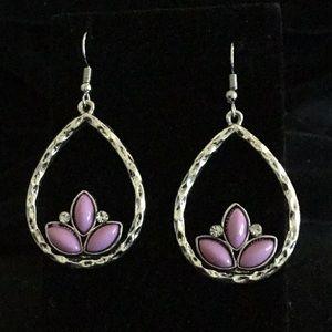 Jewelry - SILVER TONE/PURPLE & RHINESTONE TEARDROP EARRINGS